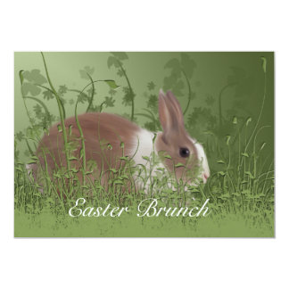 "Easter Brown and White Rabbit Brunch Invitation 5"" X 7"" Invitation Card"