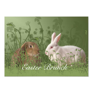 "Easter Brown and White Rabbits Brunch Invitation 5"" X 7"" Invitation Card"