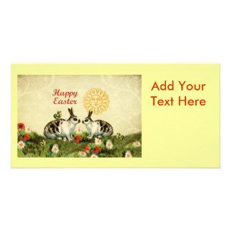 Easter Bunnies and Baby Chicks Custom Photo Card