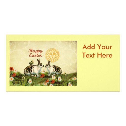 Easter Bunnies and Baby Chicks Photo Card