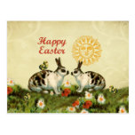 Easter Bunnies and Baby Chicks Post Card
