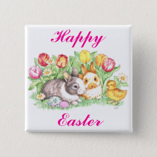 Easter Bunnies, Duckling and Tulips 15 Cm Square Badge