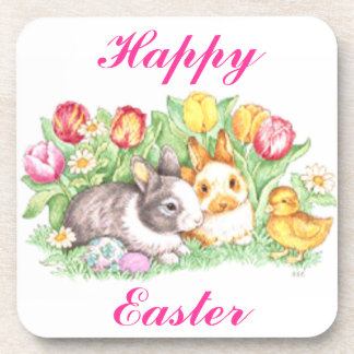 Easter Bunnies, Duckling and Tulips Coaster
