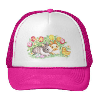 Easter Bunnies Duckling and Tulips Mesh Hats