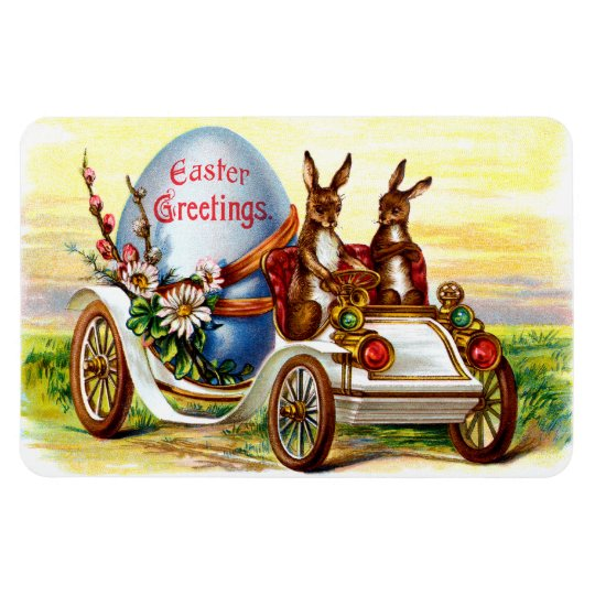 Easter Bunnies in Automobile Rectangular Photo Magnet