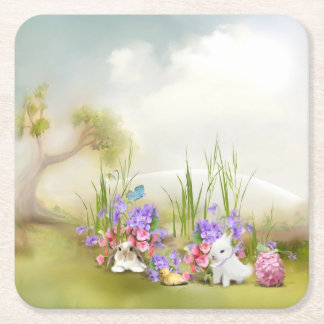 Easter Bunnies Paper Coaster Square Paper Coaster