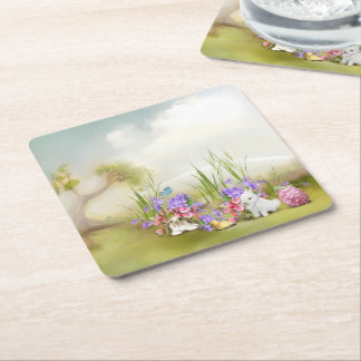 Easter Bunnies Square Paper Coaster
