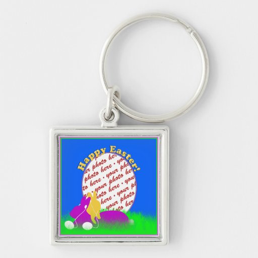 Easter Bunnies With Ear Buds Photo Frame Keychains