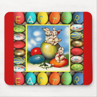 Easter bunnies with Easter eggs Mouse Pads