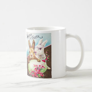 Easter Bunnies with Egg and Flowers Basic White Mug