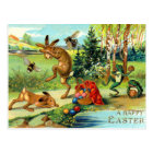 Easter Bunnies with Eggs Postcard