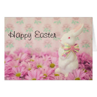 Easter Bunny Among Pink Flowers Greeting Card