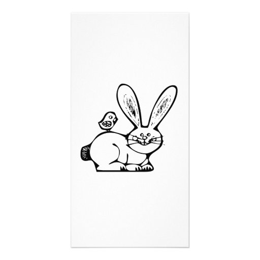 Easter Bunny and Baby Chick Photo Greeting Card