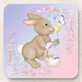 Easter Bunny and Basket Beverage Coasters