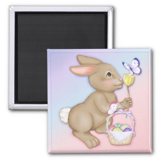 Easter Bunny and Basket Magnet