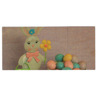 Easter Bunny and candy eggs Wood USB 2.0 Flash Drive
