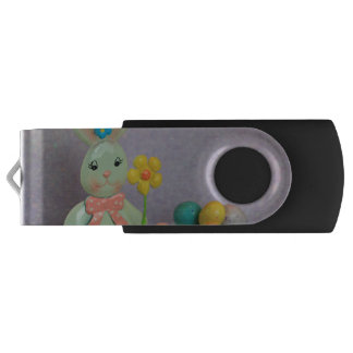 Easter Bunny and candy eggs Swivel USB 2.0 Flash Drive