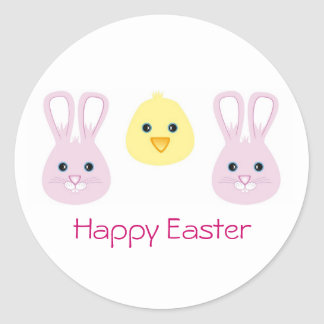 Easter Bunny and Chic, Happy Easter Classic Round Sticker