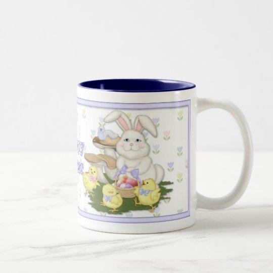 Easter Bunny and Chicks Two-Tone Coffee Mug