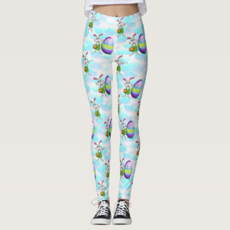 Easter Bunny and Colored Egg Print Leggings