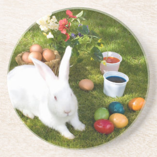 Easter Bunny And Colored Eggs Coaster