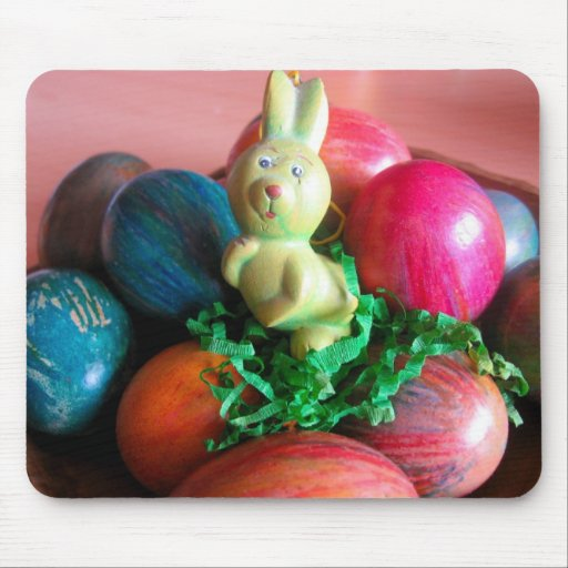 Easter Bunny and Colorful Easter Eggs Mousepad