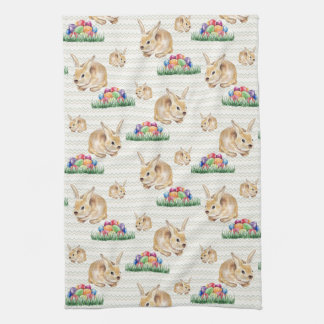 Easter bunny and colorful eggs tea towel