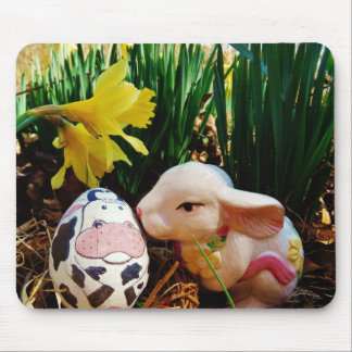 Easter Bunny and cow egg Mousepads