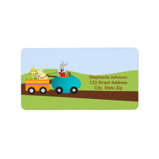 Easter Bunny and Egg Cart Address Label
