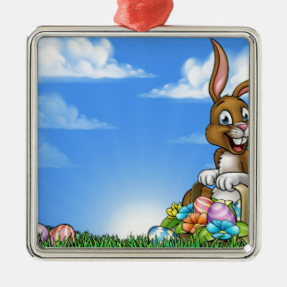Easter Bunny and Eggs Background Silver-Colored Square Decoration