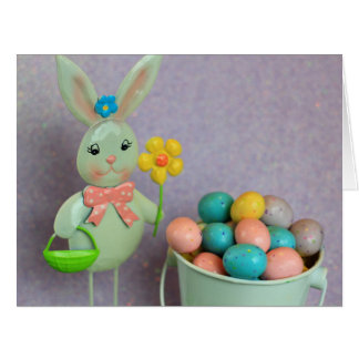 Easter bunny and eggs big greeting card