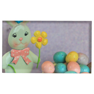 Easter bunny and eggs table card holder