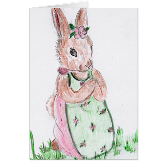 Easter Bunny and Flowers Card