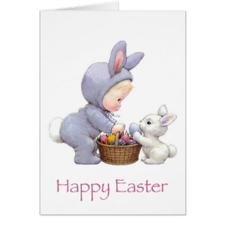 Easter Bunny and Girl Card
