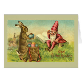 Easter Bunny And Gnome Vintage Cards