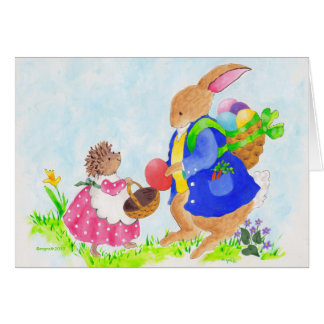 Easter bunny and Heddy hedgehog Greeting Card
