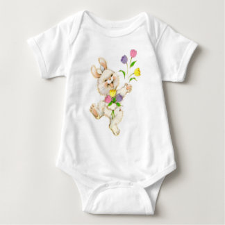 Easter Bunny And Tulips Baby Bodysuit