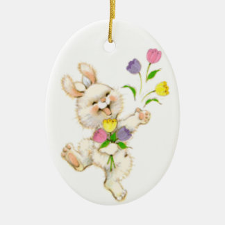 Easter Bunny And Tulips Christmas Ornament