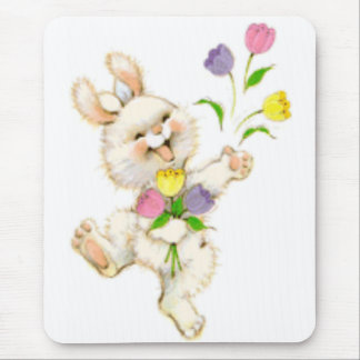 Easter Bunny And Tulips Mouse Mat
