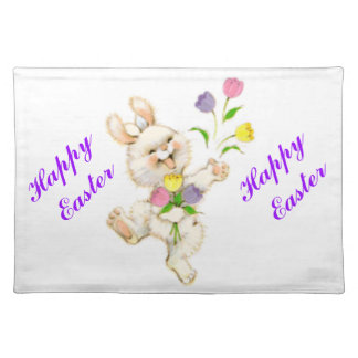 Easter Bunny And Tulips Placemat