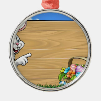 Easter Bunny Background Sign Silver-Colored Round Decoration