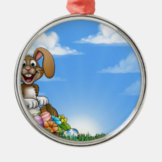 Easter Bunny Background Silver-Colored Round Decoration