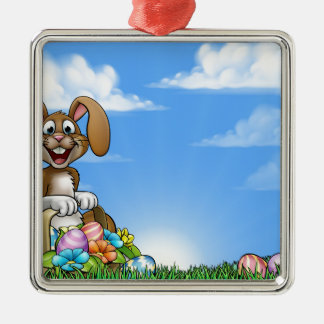 Easter Bunny Background Silver-Colored Square Decoration
