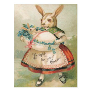 Easter Bunny Basket Baby Forget Me Not Postcard