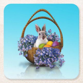 Easter Bunny Basket Paper Coaster Square Paper Coaster