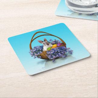 Easter Bunny Basket Square Paper Coaster