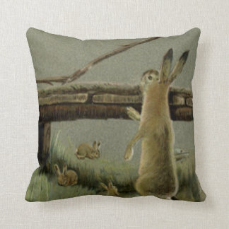 Easter Bunny Bridge Forest Cushion