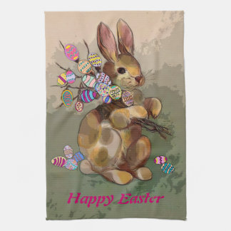 easter bunny brings eggs tea towel