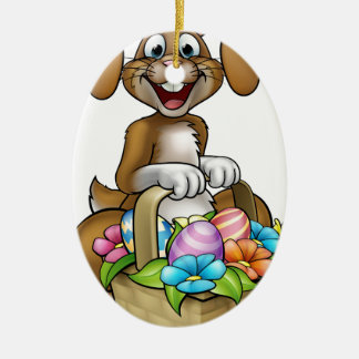 Easter Bunny Cartoon Character Ceramic Oval Decoration
