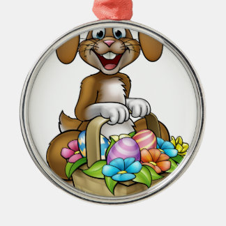 Easter Bunny Cartoon Character Silver-Colored Round Decoration